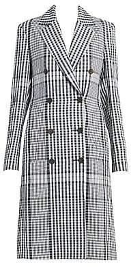 Loewe Women's Double-Breasted Linen Check Coat