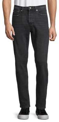 Topman Washed Black Rigid Tapered Jeans