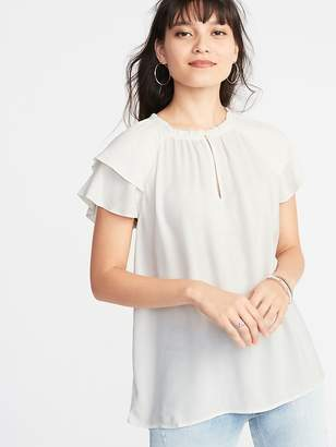 Old Navy High-Neck Ruffle-Trim Crepe Top for Women