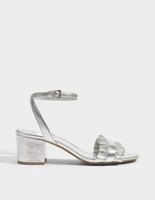 MICHAEL Michael Kors Bella Flex Mid Sandals in Silver Metallic Nappa Leather