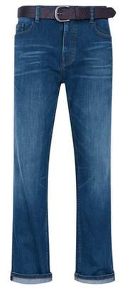 Burton Mens Mid Blue Logan Straight Fit Belted Jeans