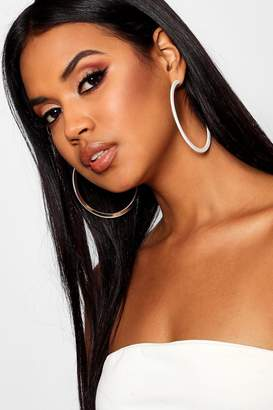 boohoo Gold Contrast Resin Hoop Earrings