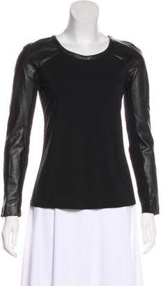 Milly Long Sleeve Leather Top w/ Tags