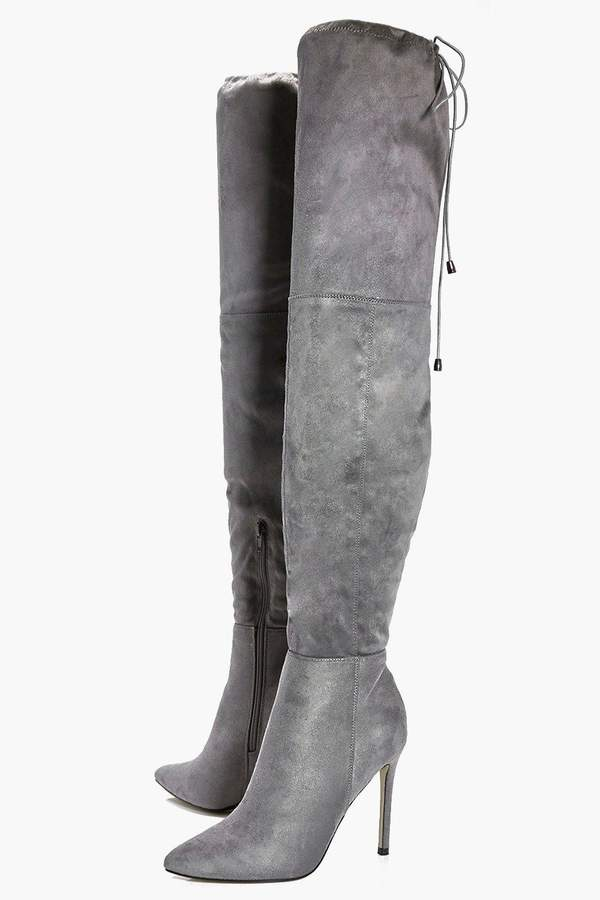 boohoo anya pointed toe thigh high boot shopstyle co uk