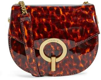 Sandro Patent Leather Leopard Print Cross Body Bag