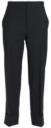 Vince Cropped Stretch-Wool Crepe Slim-Leg Pants
