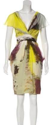 J. Mendel Silk Digital Print Dress Yellow Silk Digital Print Dress