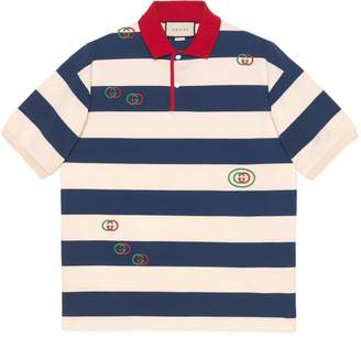 Gucci Embroidered striped jersey polo