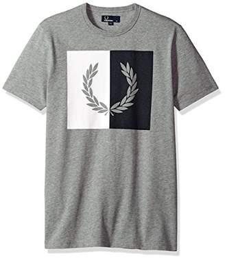 Fred Perry Split Laurel Wreath Gray Cotton T-Shirt