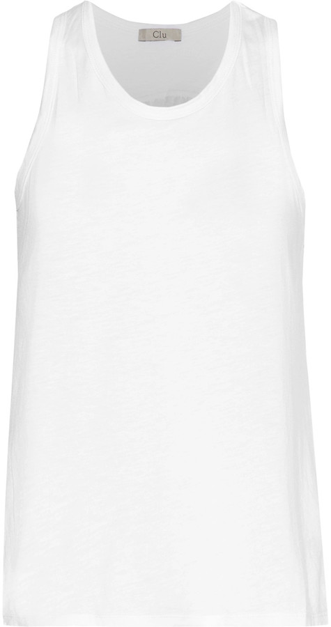 Clu CLU Washed silk-paneled cotton and modal-blend tank