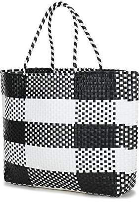 inOne Large Capacity Plaid Check Tote Handbag Handmade Woven PP Beach Basket Bag