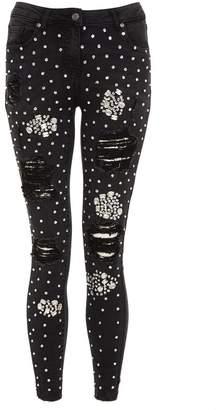 Quiz Black Denim Embellished Ripped Jeans