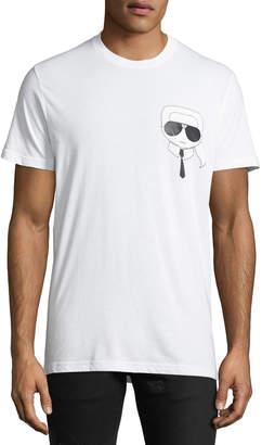 Karl Lagerfeld Men's Caricature Logo Tee