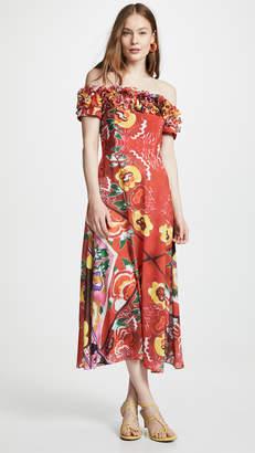 Tata-Naka Tata Naka Off Shoulder Frilly Dress with Full Skirt