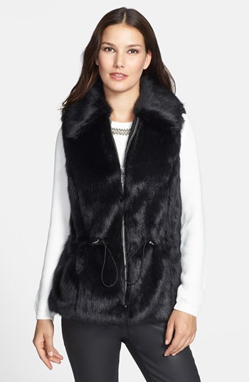 Chaus Faux Fur Vest with Drawstring Waist
