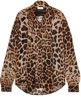 Saint Laurent Pussy-bow Leopard-print Silk-georgette Blouse - Leopard print