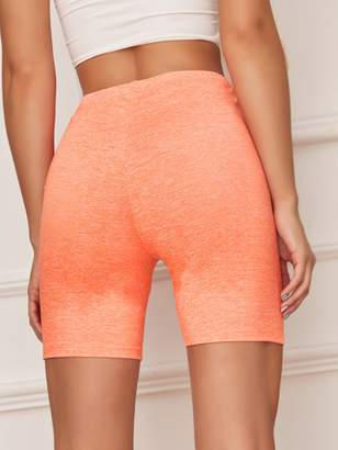Shein Neon Orange Slub Knit Cycling Shorts