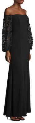 Laundry by Shelli Segal Off-The-Shoulder Embroidered Gown $295 thestylecure.com