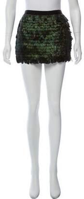 Elizabeth and James Silk Feather Mini Skirt