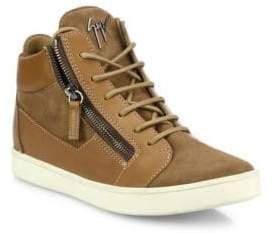 Giuseppe Zanotti Leather& Suede Side-Zip Sneakers