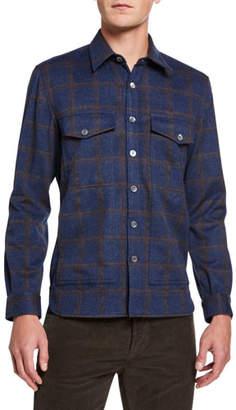 Isaia Men's Plaid Button-Front Overshirt