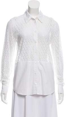 Equipment Lace Long Sleeve Button-Up Top w/ Tags