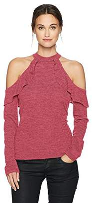 William Rast Women's Wyatt Cold Shoulder Ruffle Top