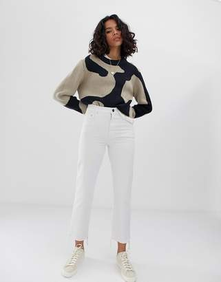 87a730d3cfc3fa Asos Design DESIGN Florence authentic straight leg jeans in bone chalky  white wash