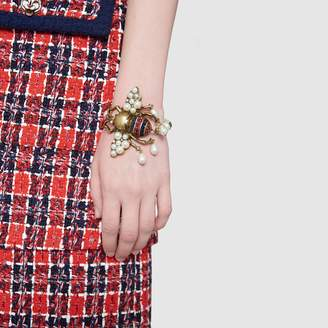 Gucci Bee bracelet with crystals and pearls