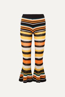 Loewe Paula's Ibiza Striped Knitted Flared Cropped Pants - Orange