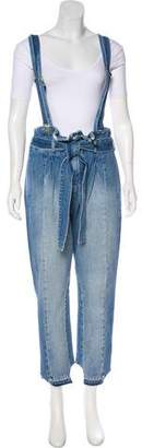 Frame Distressed Denim Overalls w/ Tags