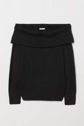 H&M Off-the-shoulder Sweater - Black