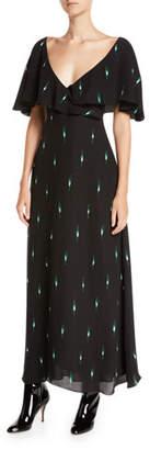 Valentino Short-Sleeve Leaf-Print Long Silk Georgette Dress