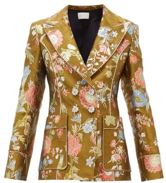 Peter Pilotto Double Breasted Floral Brocade Blazer - Womens - Green Multi