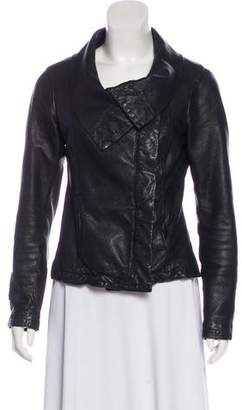 AllSaints Double-Breasted Leather Jacket