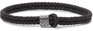 Bottega Veneta Intrecciato Leather and Oxidised Silver-Tone Bracelet - Men - Brown