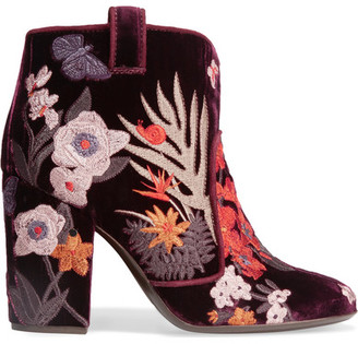Laurence Dacade - Pete Embroidered Velvet Ankle Boots - Burgundy $990 thestylecure.com