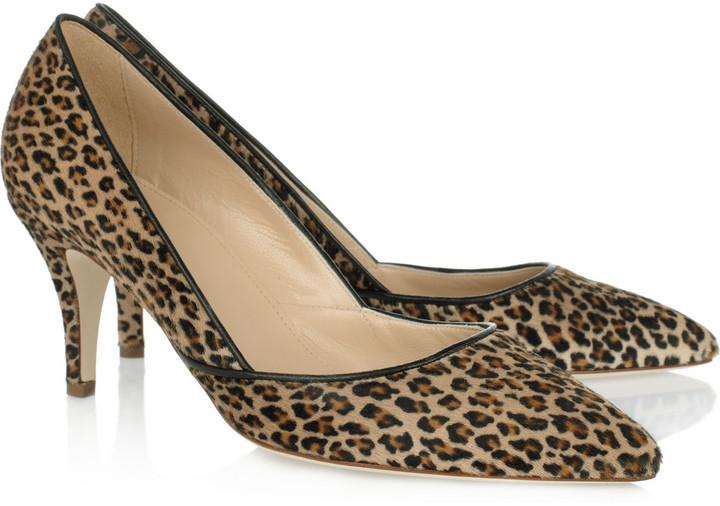 J.Crew Valentina leopard-print calf hair pumps