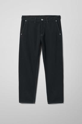 Weekday Barrel Washed Black Cropped Jeans - Black
