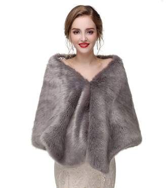 King's Love Elegant Women Long Faux Fox Fur Shawls Wraps Wedding Cape For Evening Party Dresses Grey