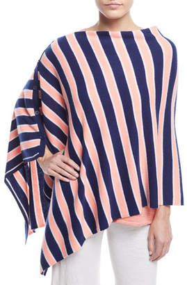Minnie Rose Striped Cashmere Poncho, Plus Size