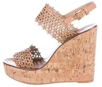 Tory Burch Leather Peep-Toe Wedge Sandals