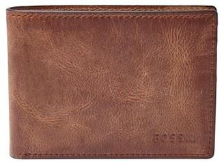 Men's Fossil 'Derrick' Leather Front Pocket Bifold Wallet - Brown $30 thestylecure.com