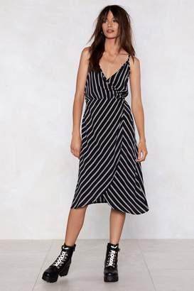 Nasty Gal Wrap Like Hell Striped Dress