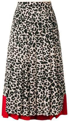 No.21 leopard-print pleated skirt