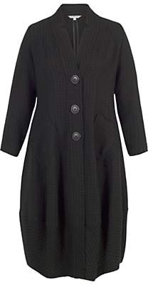chesca Chesca Notch Collar Basket Weave Coat, Black