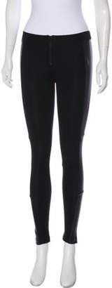 Alice + Olivia Leather-Accented Mid-Rise Skinny Leggings Black Leather-Accented Mid-Rise Skinny Leggings
