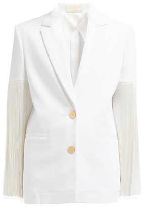 Sara Battaglia Fringed Single Breasted Cotton Blend Blazer - Womens - White