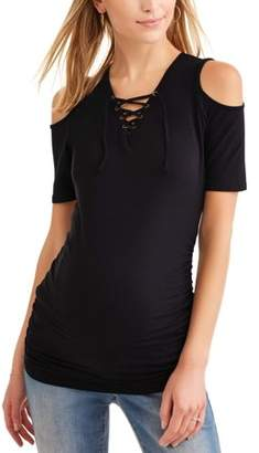 Oh! Mamma Maternity Short Sleeve Lace-Up Front Top, Available in Plus Sizes