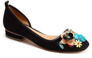 Bill Blass Lola Flower Embellished Half d'Orsay Flat